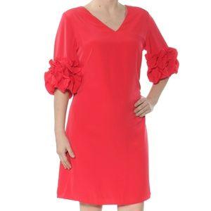 ALFANI Red Ruffle Sleeve A Line Dress